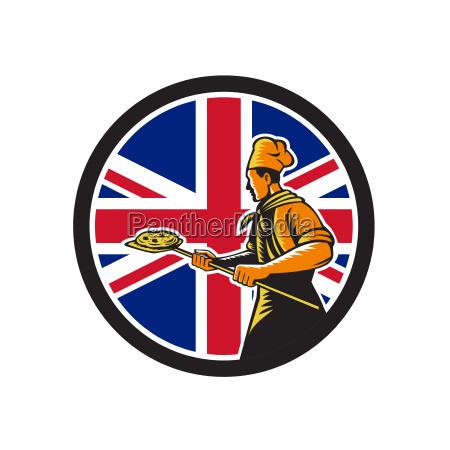 british pizza baker union jack flag