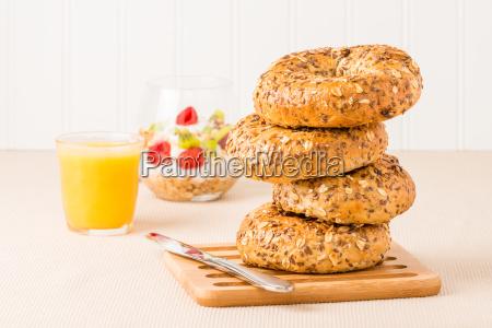 muesli bagel stack