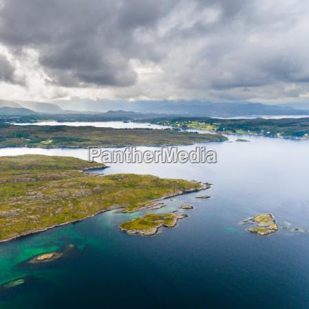 norway coast aerial drone view