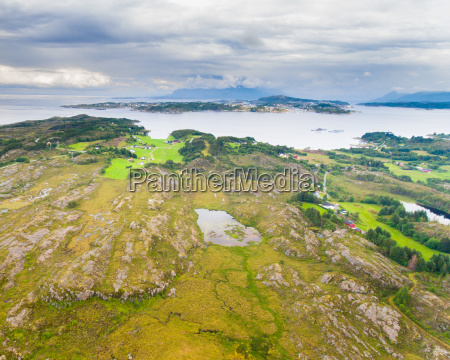 norway coast landscape with island aerial