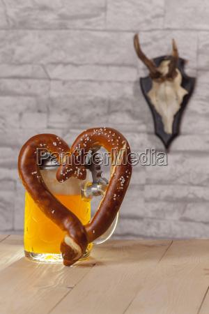 pretzel with beer in heart shape