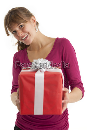 young woman with a gift
