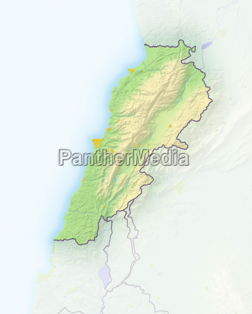 lebanon shaded relief map asia