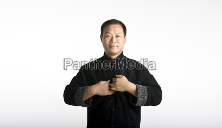 portrait chinese taiji master in traditional