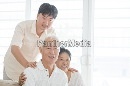 asian mature son and old parents