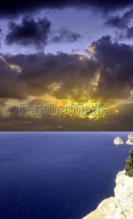 dramatic sunrise over mediterranean sea before