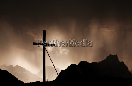 thunderstorm in the swiss alps at