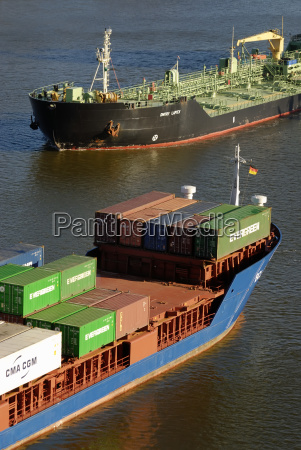 meeting of a container ship and