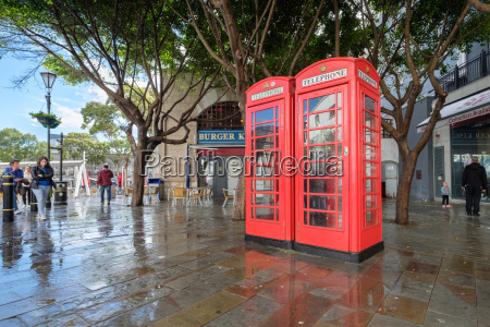 british red phone boxes on gibralta