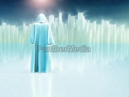 pilgrimage white robed traveler journeys to