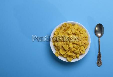 cornflakes in a white ceramic plate