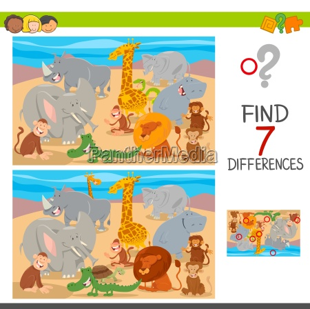 find differences game with wild animal