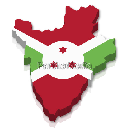 outline and flag of burundi 3d