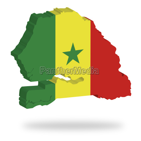 africa outlines three dimensional flag border