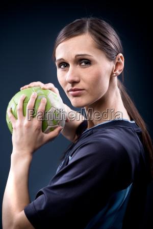 handball player with ball