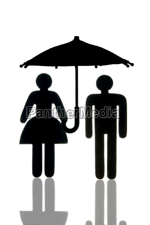 woman and man with umbrella as