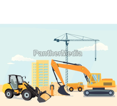 excavator and wheel loader at the