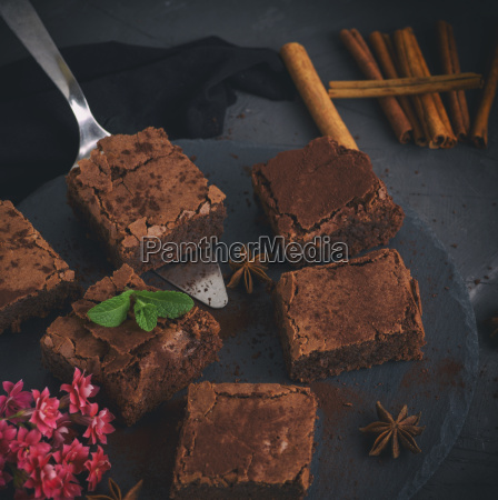 pieces of chocolate brownie on a