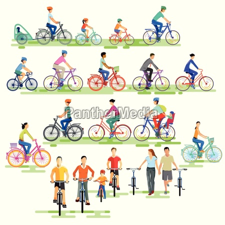 big group of cyclistsillustration