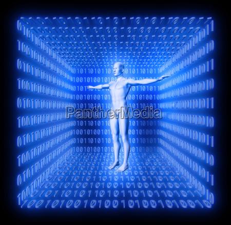 human in futuristic room from binary