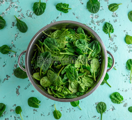 green spinach leaves in an iron