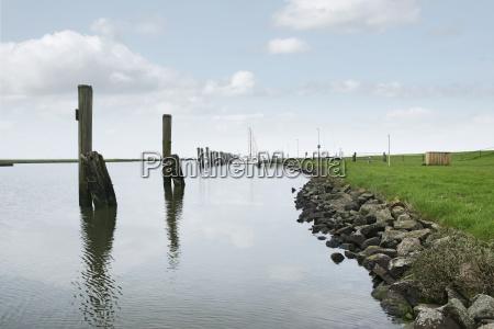 groynes suderhafen north german peninsula nordstrand