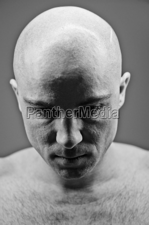 earnest meditative portrait sad human human