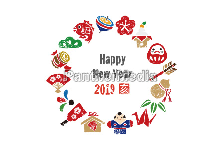 new year card wreath with japanese