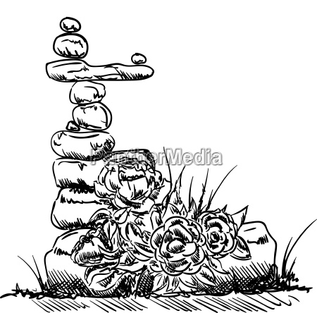 stone tower and rose draw
