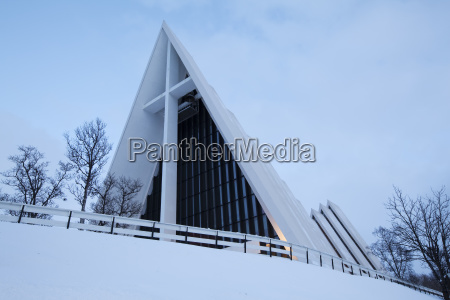 ice sea cathedral in winter tromso