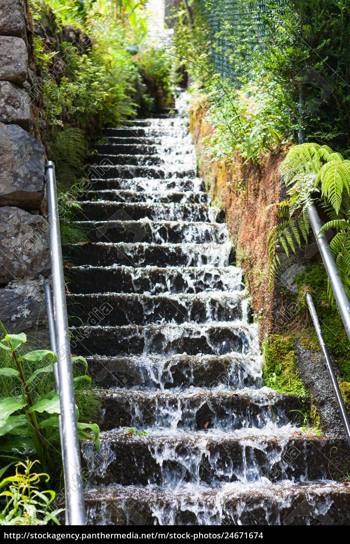 water, runs, down, a, stone, staircase - 24671674