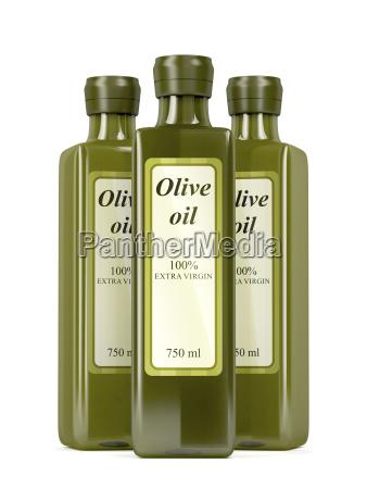 olive oil bottles on white