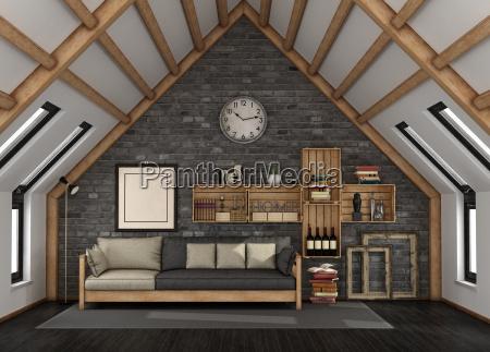 living room in the mansard