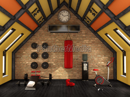 home gym in the mansard
