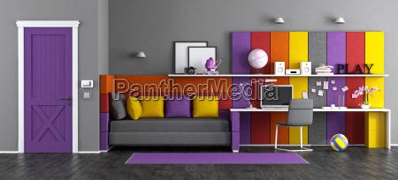 colorful teen bedroom