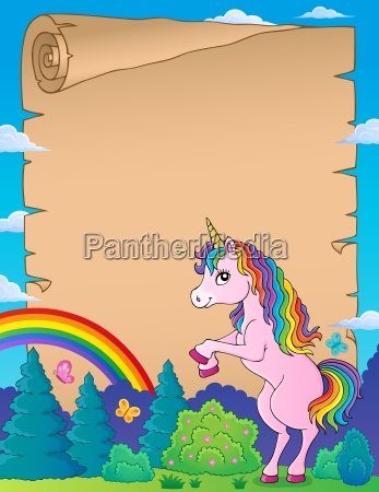 parchment with standing unicorn theme 1