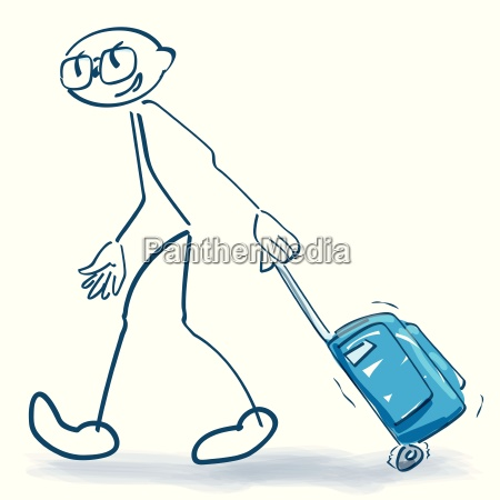 stick figure with trolley on travel