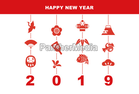 2019 new year card with good