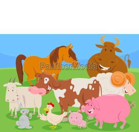 cute farm animal characters group