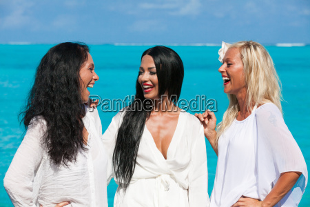 group girl in dress on maldives