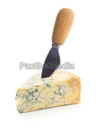 tasty blue cheese with knife