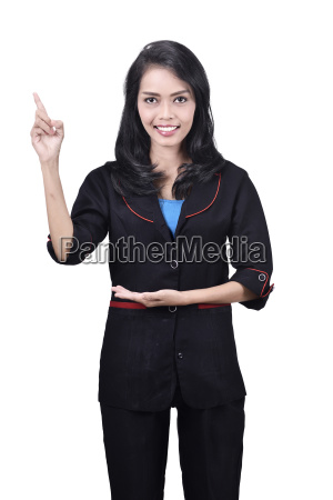portrait of asian business woman pointing