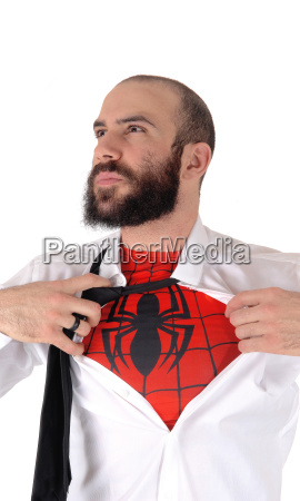young handsome man showing his spider