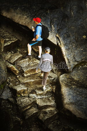 high angle view of two hikers