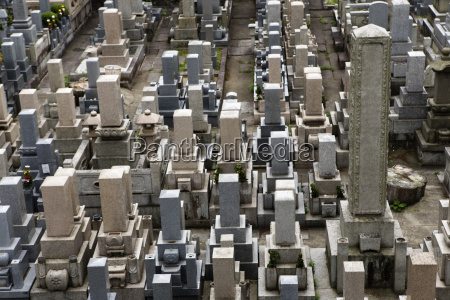 elevated view of a tombstones in