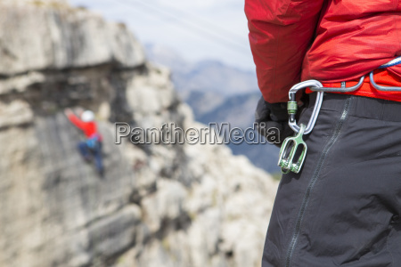 close up of carabiner hanging from