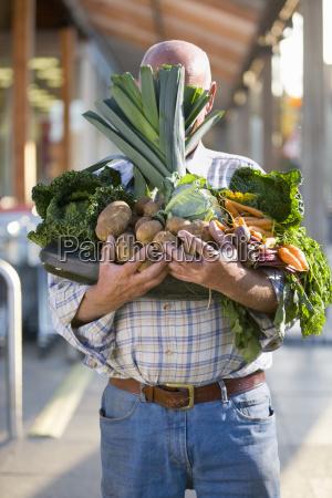 man hidden behind armful of produce