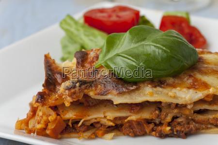 fresh italian lasagna on the plate