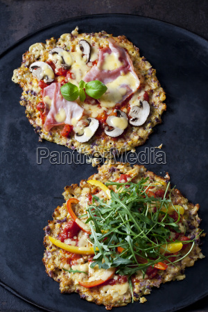 cauliflower pizza garnished with rocket and