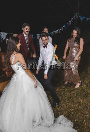 happy bride dancing and having fun